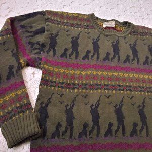 Vtg 90s Men Duck Hunting Sweater Dog Crew Neck